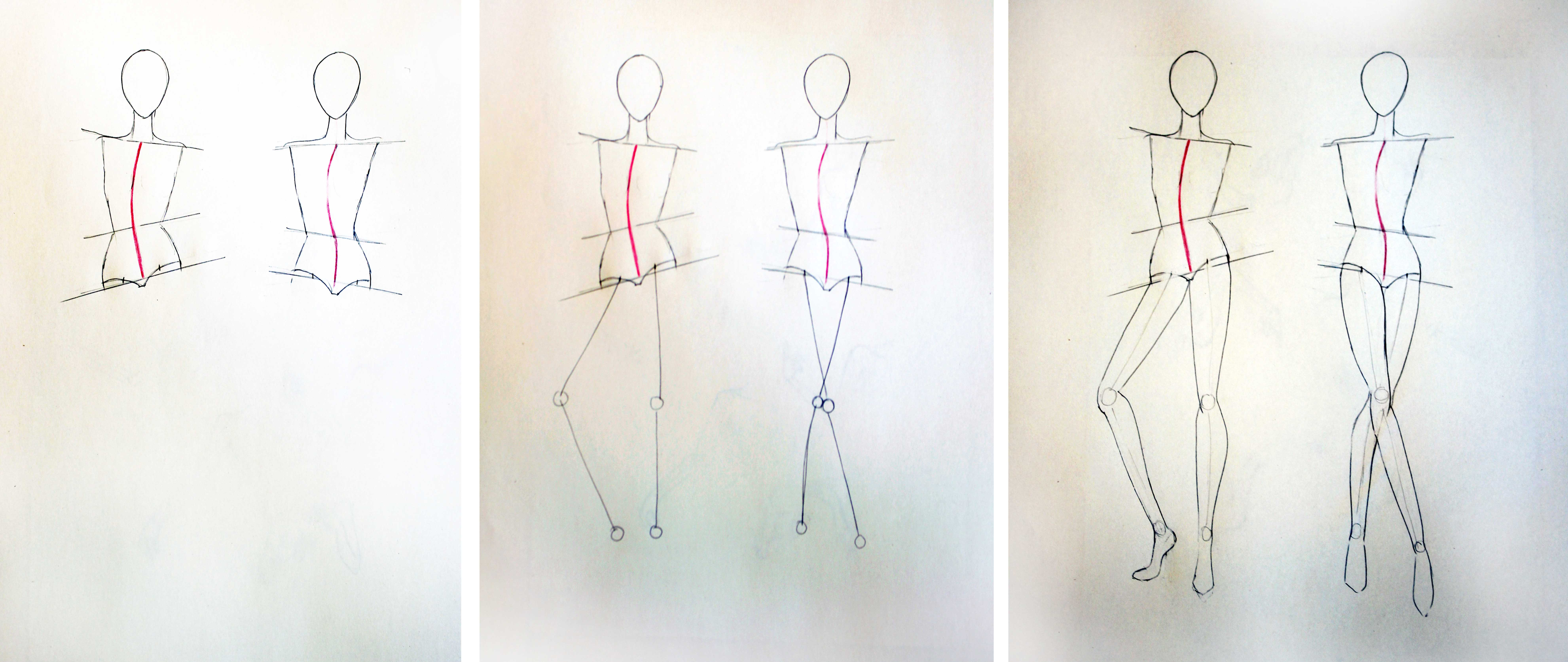 Drawing different pose in fashion figure's legs - Online fashion design tutorial