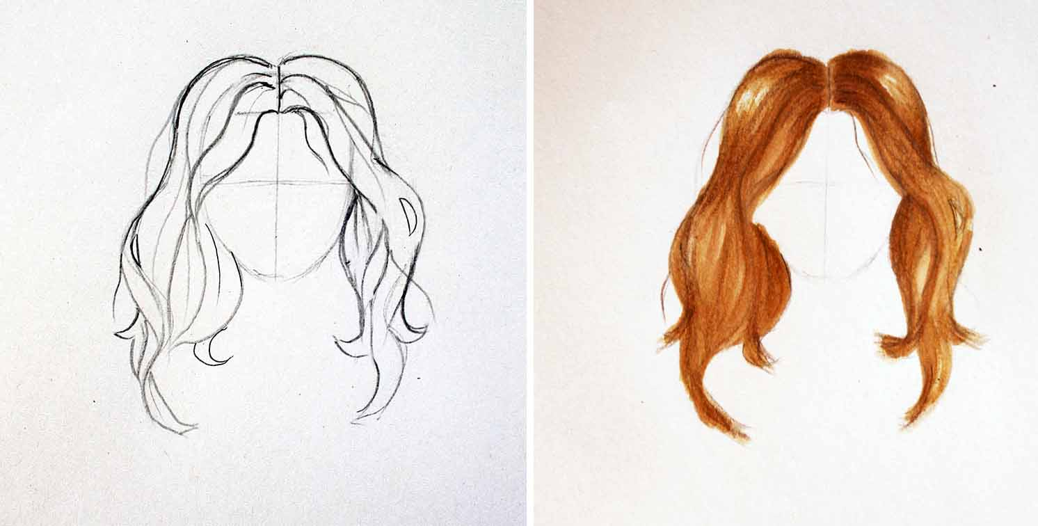 Drawing and coloring the hair