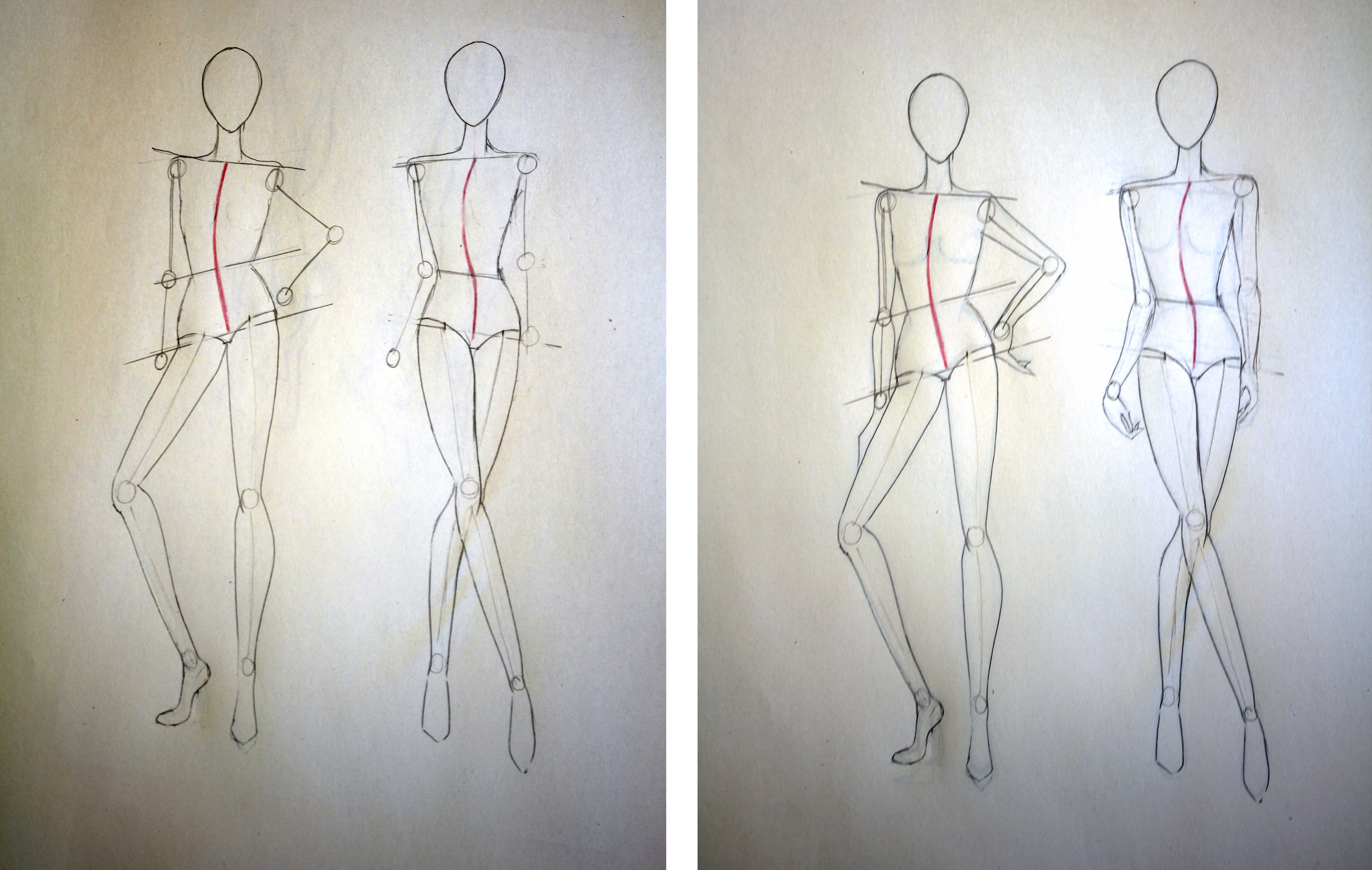Drawing different pose in fashion figure's arms - Online fashion design tutorial