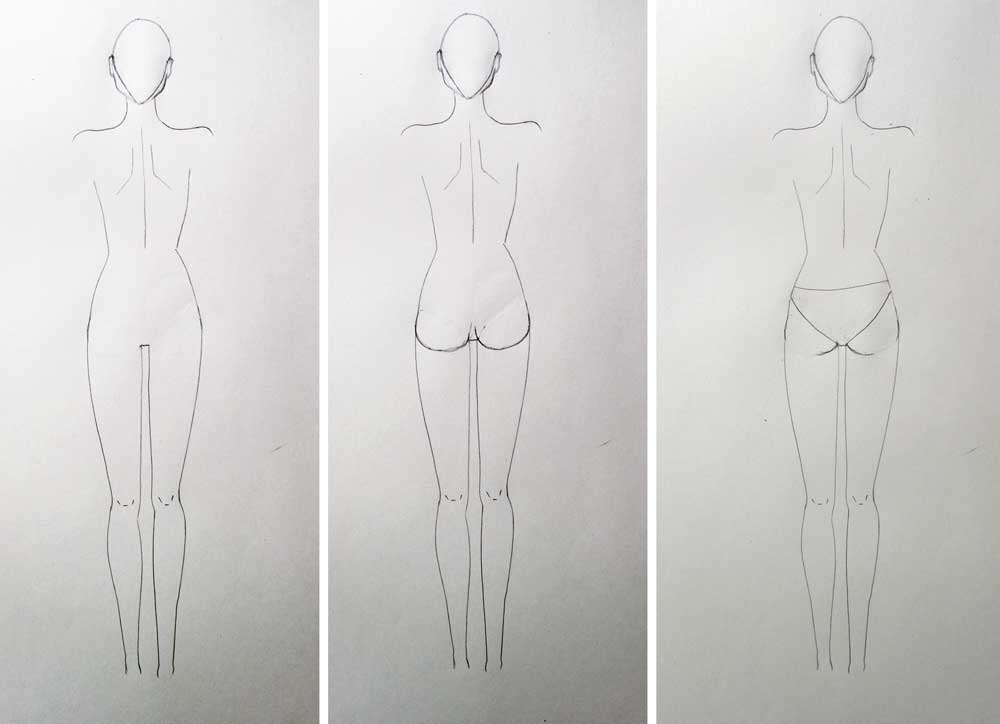 How To Draw Back View Of Fashion Figure Without Guidelines