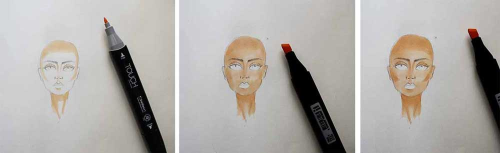 Coloring the face - coloring with markers