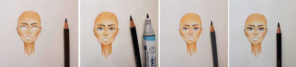 Coloring the face - coloring the eye and eybrow