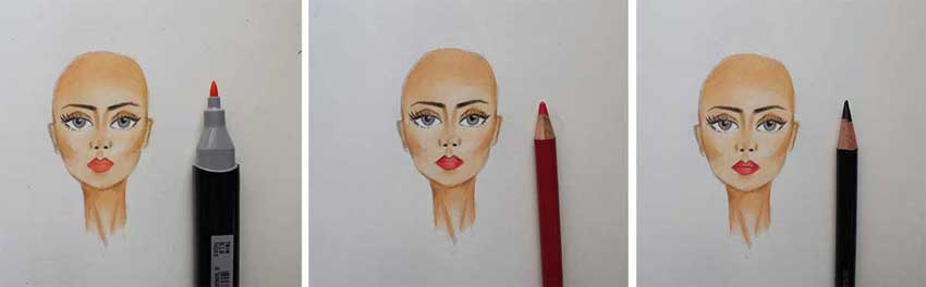 Coloring the face - Coloring the lips
