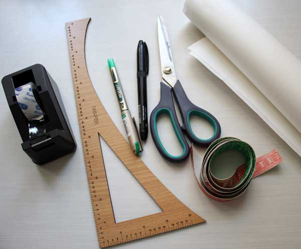 Tools and supplies needed for drafting a-line skirt pattern