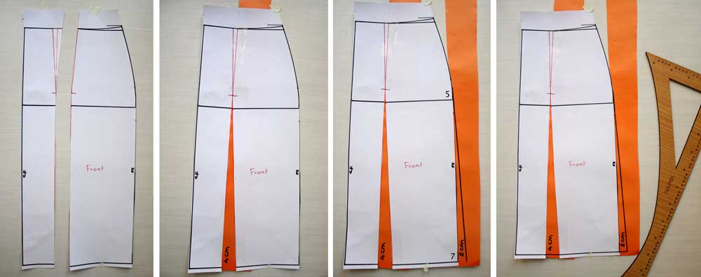 making flare skirt pattern with 3-6 cm flare