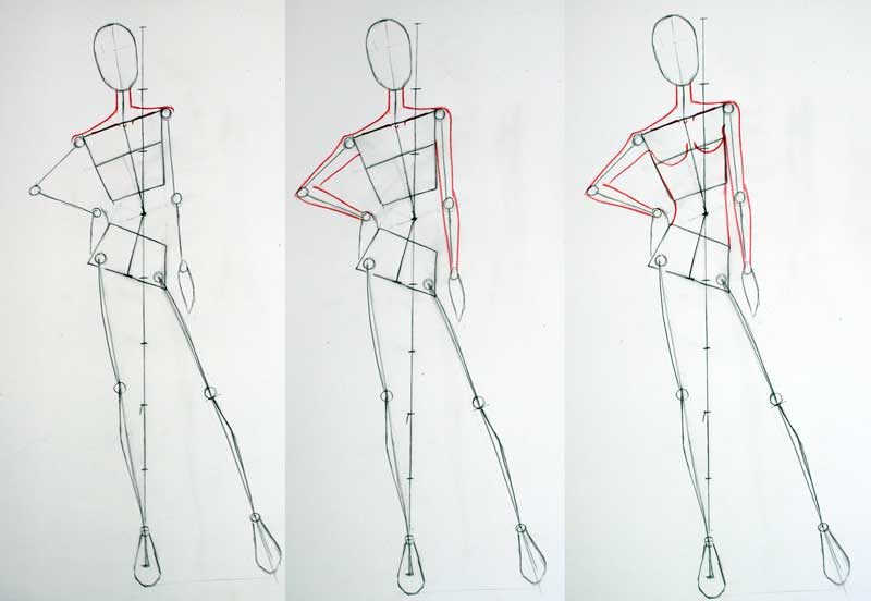 step 7 : Drawing fashion figure gestures