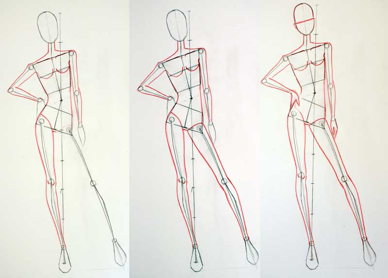 Step 9 : How to draw female fashion figures poses